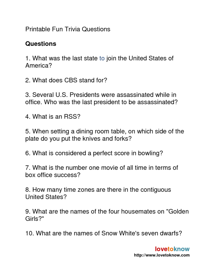 Free Printable Quizzes With Answers