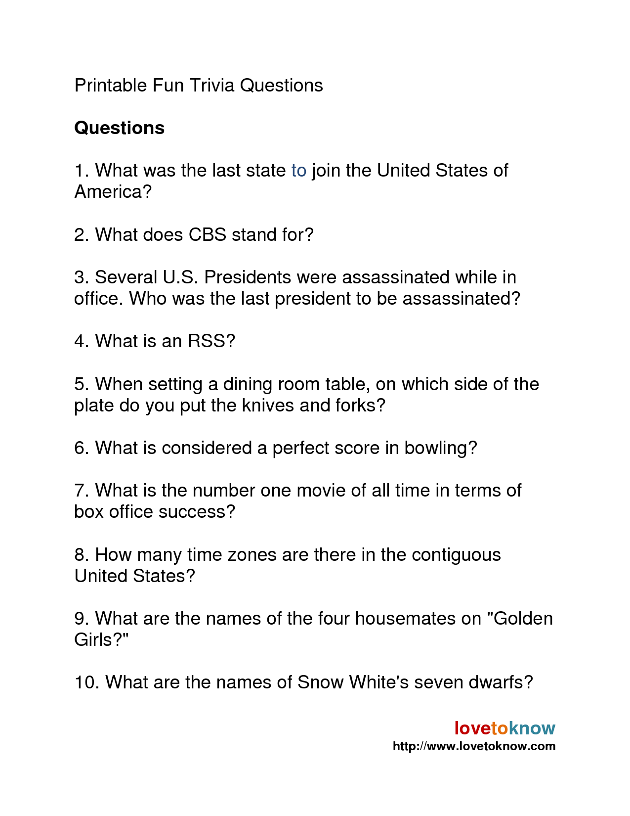 7 Best Free Printable Trivia Questions And Answers
