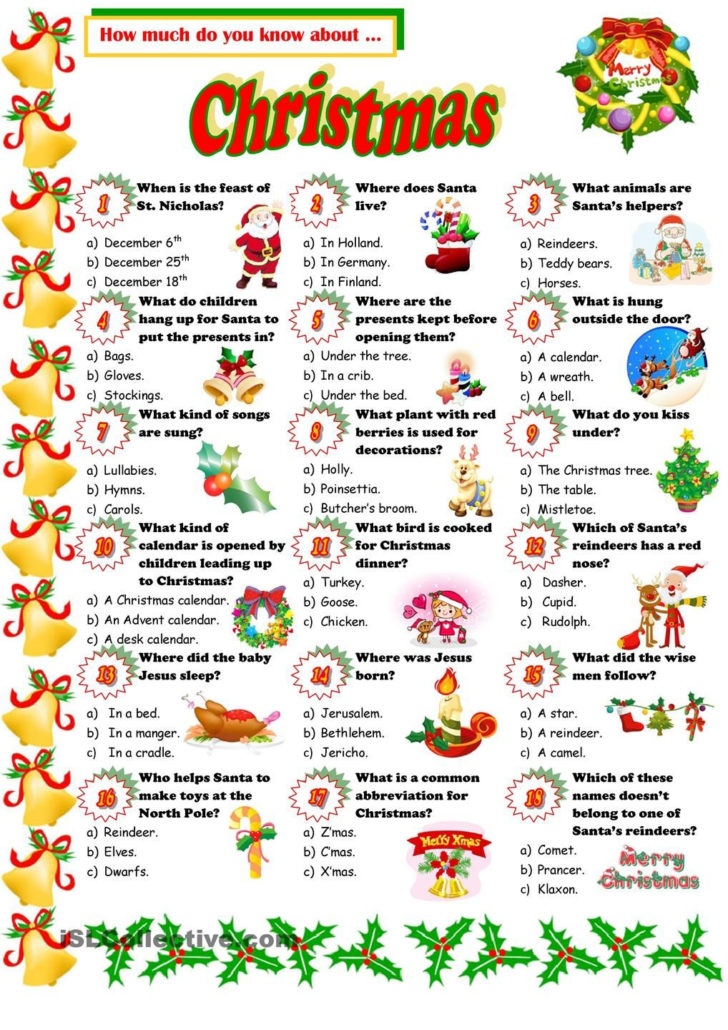 Xmas Picture Quizzes With Answers