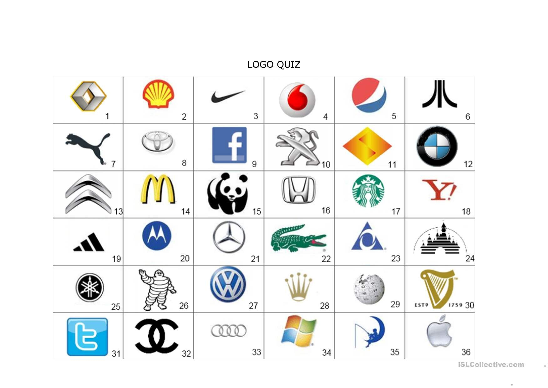 One-Click Print Document | Guess The Logo, Logo Quiz Games