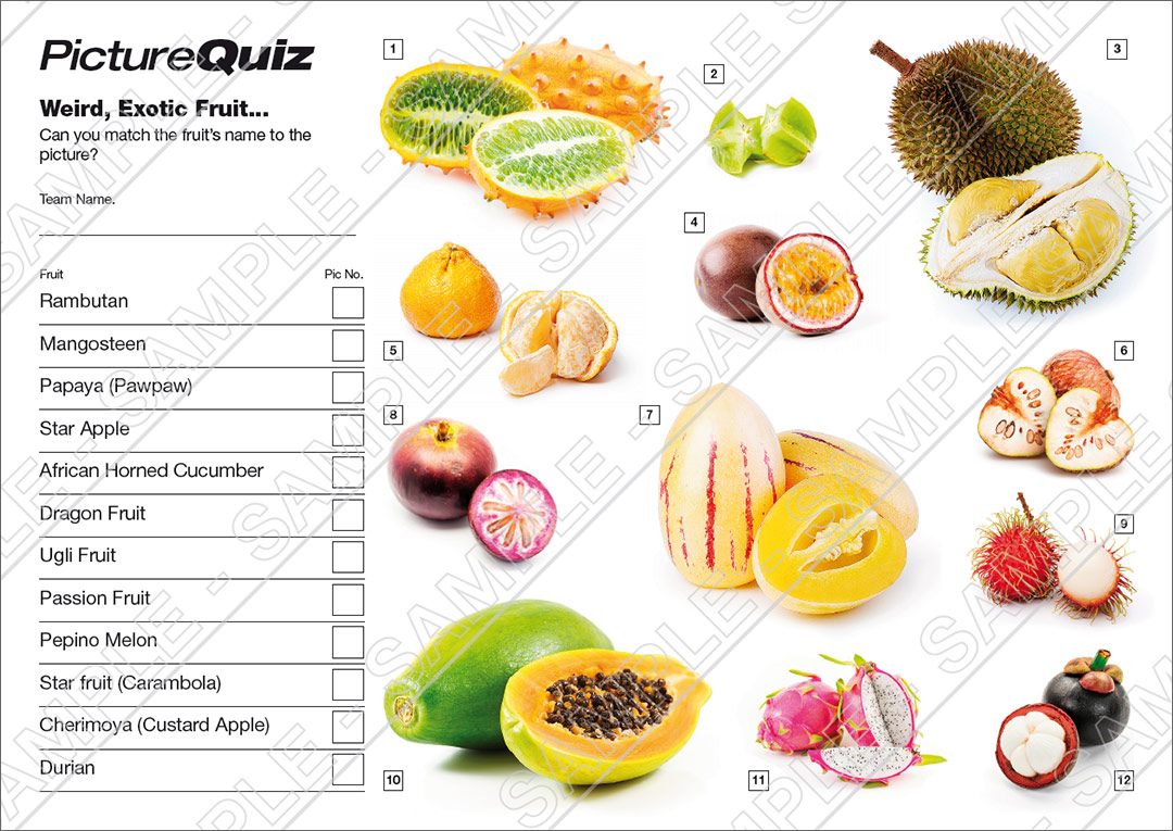Quiz Number 047 With Weird Fruit Picture Round