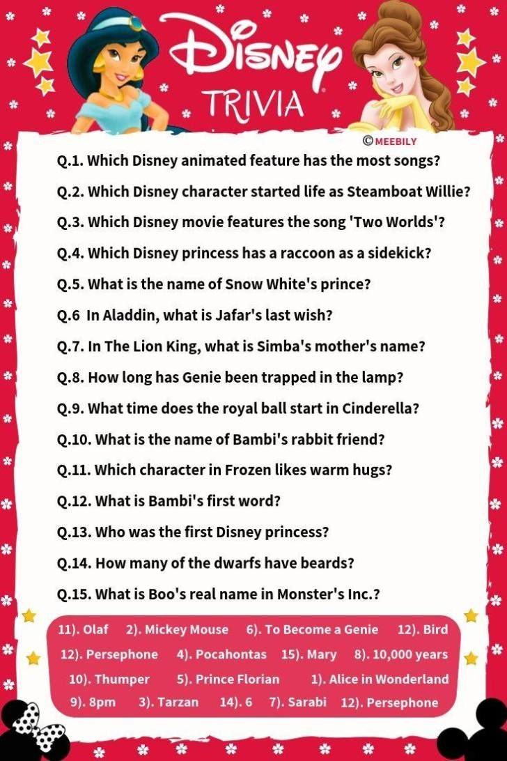 100 Disney Movies Trivia Question Answers Meebily In