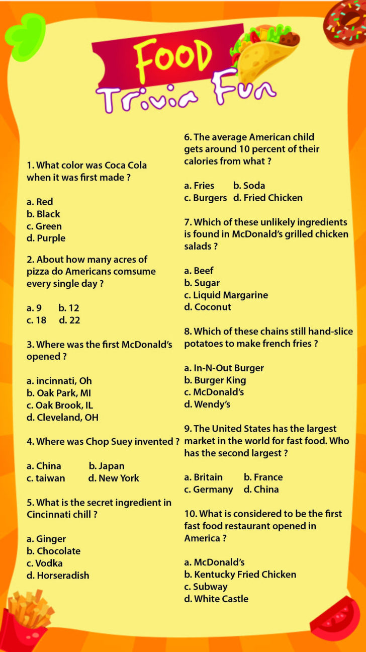 Food Trivia Questions And Answers