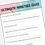 90s Trivia Quiz Printable Party Game Instant Download