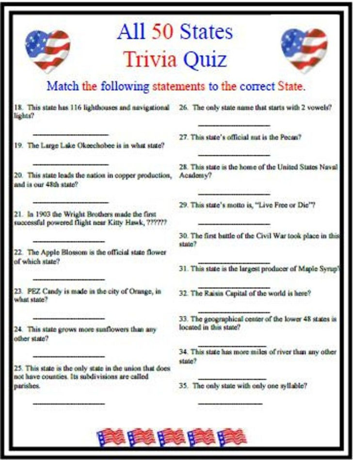 Easy State Trivia Questions And Answers