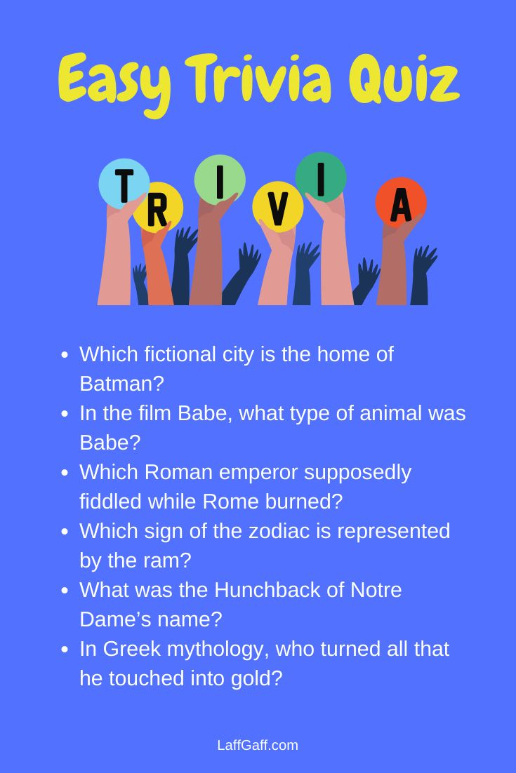 Easy Trivia Questions And Answers Trivia Questions And