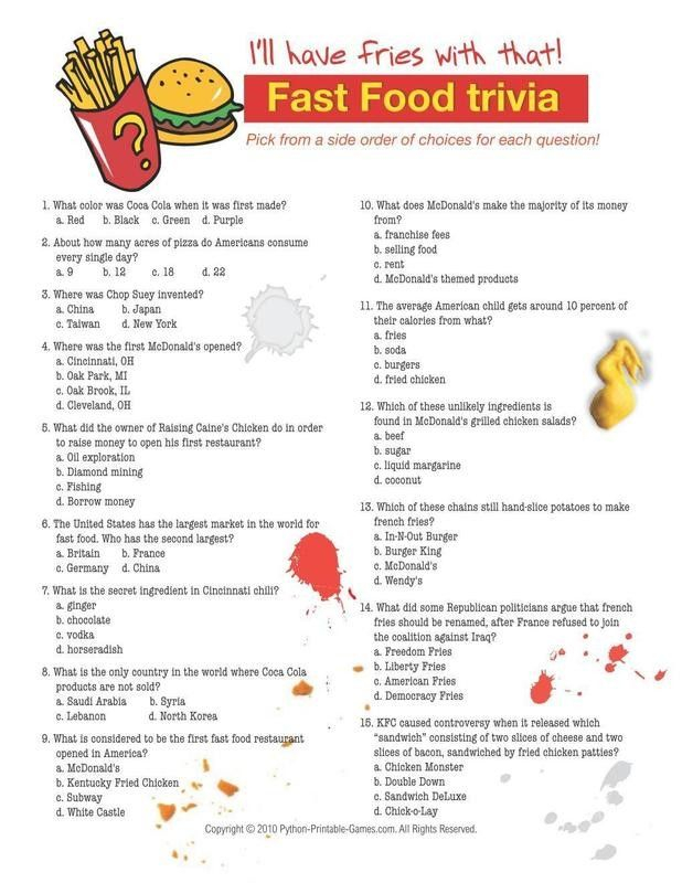 Foods Drinks Games Fast Food Trivia Food And Drink