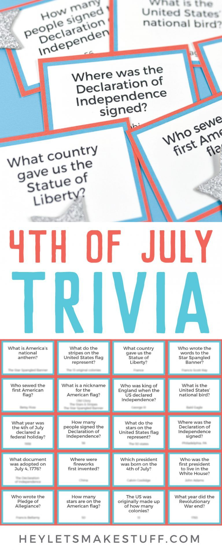 Printable Fourth Of July Trivia Fourth Of July Crafts